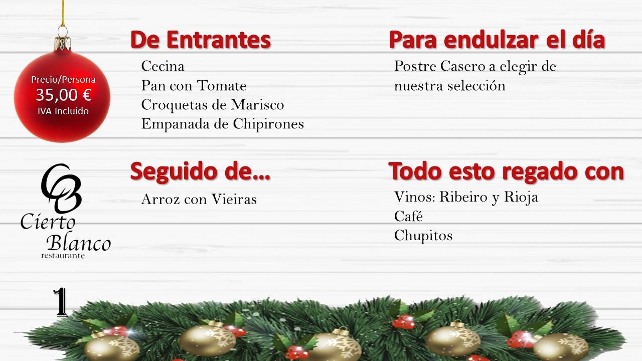 Menu navidad 2018 Vieiras